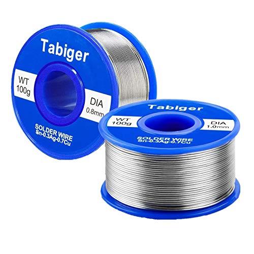Lötzinn 2 Stück (1mm mit 0.8mm), Tabiger Lötdraht Lot Bleifreies mit Kolophonium Kern 97Sn-2Rosin-0.7Cu-0.3Ag, 100g/ Stück Elektronik Lötzinn Solder Wire