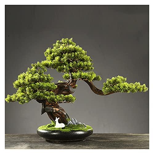 zunruishop Vegetación y Plantas Artificiales Árbol de Bonsai Artificial, 19 Pulgadas en macicie Artificial Plantas, Hermosa Planta de Pino Bonsai, para Zen Garden Decor Decoración de Escritorio