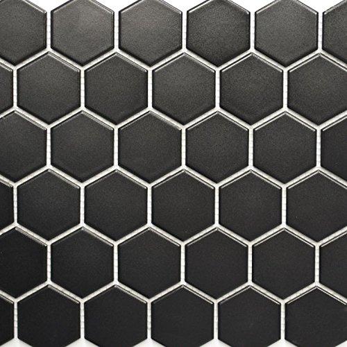 Azulejos de mosaico de cerámica hexagonal, color negro mate, para suelo, pared, baño, ducha, cocina, espejo, revestimiento de bañera, placa de mosaico.
