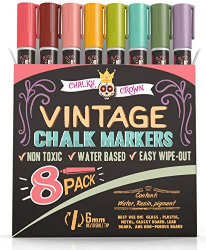Liquid Chalk Markers - Dry Erase Marker Pens - Chalk Markers for Chalkboards, Signs, Windows, Blackboard, Glass - Reversible Tip (8 Pack) - 24 Chalkboard Labels Included (Vintage, 6mm)