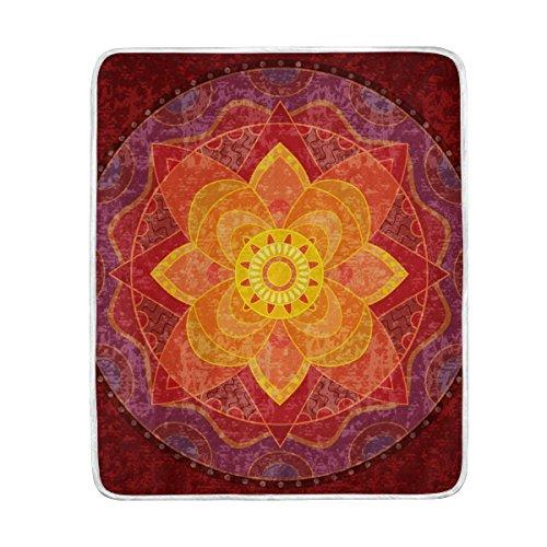 TIZORAX Hippie Mandala Yoga Psicodélico suave cálido manta de 50 pulgadas x 60 pulgadas para cama, sofá, picnic, camping, playa