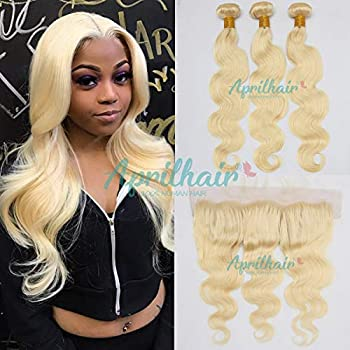 Aprilhair Pre-plucked #613 Platinum Blonde 3 Bundles With 13x4 Lace Frontal Ear To Ear Closure Unprocessed Brazilian Virgin Human Hair Weave Body Wave With Baby Hair 10+10 10 10