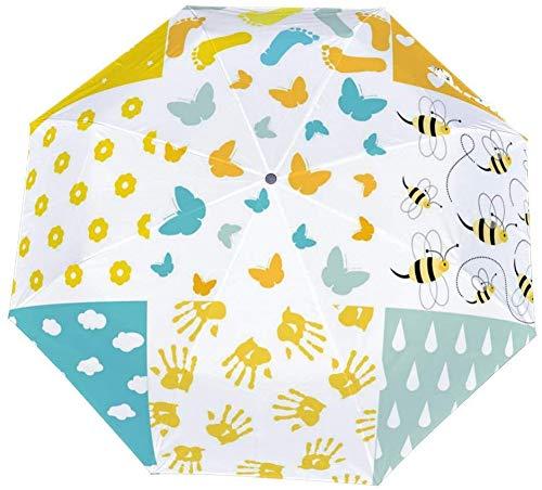 Paraguas manual de tres pliegues Juego de ducha de bebé de fondos sin costuras Nano Paraguas plegable de gran diámetro Protector solar que cubre el sol y la lluvia-Manual