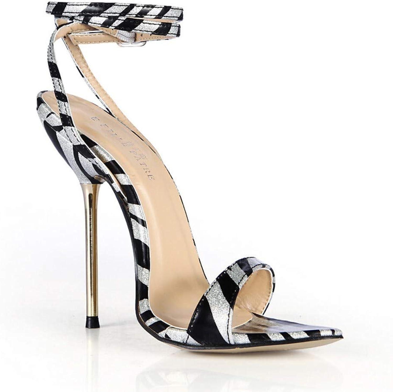 IWlxz Women's Synthetics Spring & Summer Classic Minimalism Sandals Stiletto Heel Buckle Animal Print Black Wedding Party & Evening