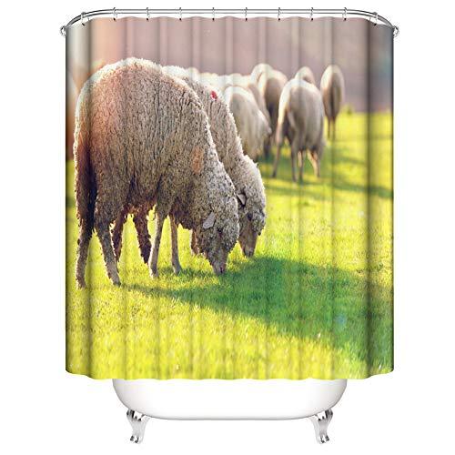 LIYAN Duschvorhang: 180 cm X 180 cm. Polyester. 3D Hd Druck. Pflanzenpigmente. Wasserdicht. Badezimmerzubehör. Schafe Im Gras.
