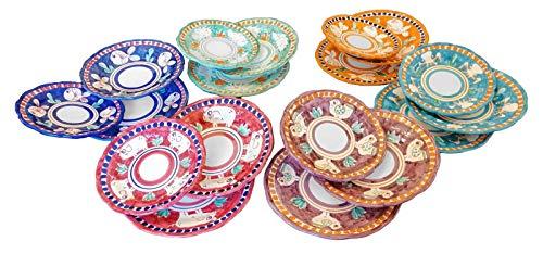 Piatti Vietri Ceramica vietrese Linea Animaletti 6 Piatti Fondi, 6 Piatti Piani, 6 Piatti Frutta