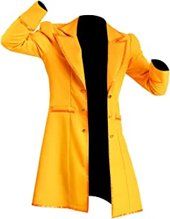 KAAZEE Men's Classic MAD Hatter Yellow Faux Leather Coat Costume