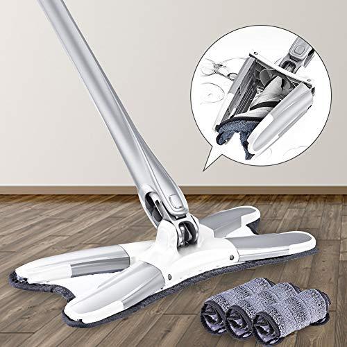 Fregona de microfibra X-Type para piso, barredora de polvo para limpieza de piso en casa, fregona de limpieza fácil en seco/húmedo, cabezal giratorio de 360°, con 1 almohadilla, para laminado