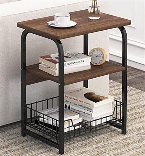 SHUJINGNCE Table à café en marbre en Bois Table à café Canapé Table de Nuit Table de Nuit avec Plateau de Panier pour Chambre à Coucher Salon (Color : 3 Tier Dark Color)