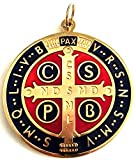 GTBItaly 60.400.21 - Medalla de San Benito de color dorado esmaltado para exorcismos (10 cm)