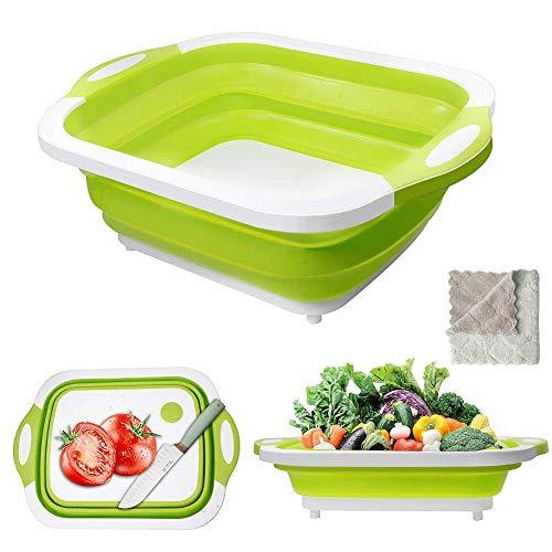 Gintan Tabla de Cortar,3 in 1 Multifunción Tabla de Cortar Plegable Tabla de Cortar Cocina Cesta de Drenaje con Colador y Toalla para Cocina Frutas Verduras (Verde)