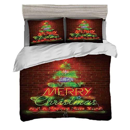 Funda nórdica Tamaño doble (150 x 200 cm) con 2 fundas de almohada Navidad Juegos de cama de microfibra Letrero de luces de neón tiene una frase de feliz Navidad y feliz año nuevo contra la pared,verd