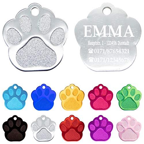 Iberiagifts - Hundemarke Pfote mit Gravur für mittelgroße bis große Hunde und Katzen - Plakette Katzenmarke graviert und personalisiert (Silber)