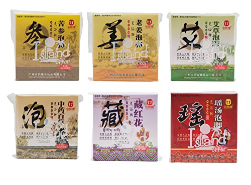 6 Favors of Foot Reflexology Chinese medicine foot bath powder kits cold blood (Wormwood, Ginger, Saffron,Chinese Herbs, Yao Herbs, Genseng)