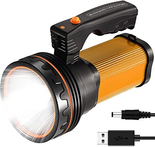 ROMER LED Proiettore Portatile Ricaricabile ad alta Potenza Super Bright 9000 MA 6000 LUMENS CREE Spot Tattico Torcia Lanterna Torcia(oro)