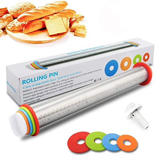 Adjustable Rolling Pin with Thickness Rings Guides - Rodillos de Acero Inoxidable de 17 pulgadas Rodillo de Masa Estilo Francés para Hornear Pasteles de Pizza y Galletas - del único Proveedor de 'Lumbor37-MX' Obtenga Garantía de Calidad