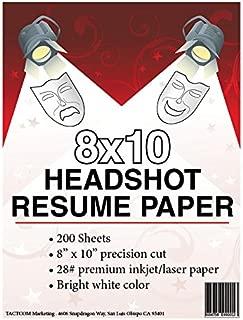 8 x 10 Headshot Resume Paper