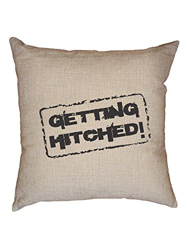 Hollywood Thread Getting Hitched! Wedding Party Fun Decorative Linen Throw Cushion Pillow Case with Insert