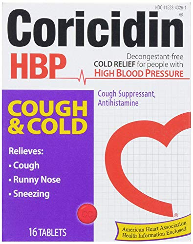 Coricidin HBP Antihistamine Cough & Cold Suppressant for People with High Blood Pressure, 16 ct
