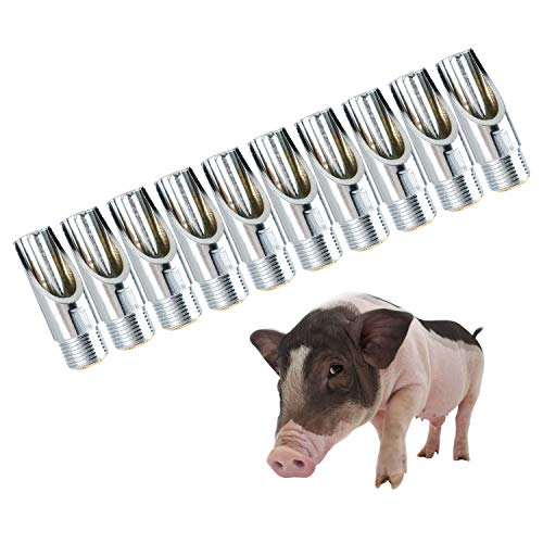 Homend Pack of 10 Stainless Steel NPT 1/2' Automatic Pig Nipple Water Drinker Feeder Waterer for Piglets, Growers
