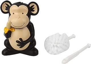 ViaGasaFamido Toilet Bowl Brush and Holder Cartoon Monkey Resin Toilet Scrubber Set 360 Degree Circular Brush Head for Bathroom Storage