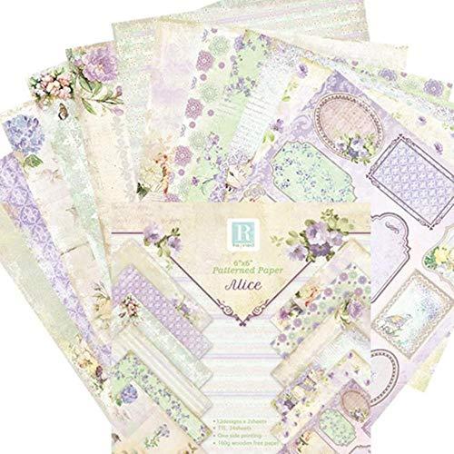 24 vellen DIY Fotoalbum Plakboek Accountkaart Achtergrondpapier maken 6 inch Enkelzijdig patroonpapier, 15