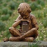 Zhandou Estatua creativa de prodigio para decoración de jardín, resina, manualidades, 16 x 12 x 12,5 cm