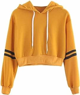 Women Hoodie Sweatshirt Varsity-Striped Drawstring Crop Long Sleeve Jumper Pullover Tops