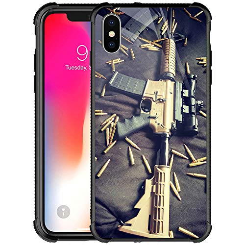 iPhone XR Case,9H Tempered Glass iPhone XR Cases for Girls Women Boys Men Young,Ar-15 Gun Lover Pattern Design Shockproof Anti-Scratch Glass Case for Apple iPhone XR