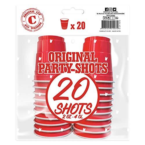 20er Pack Offiziellen Red Shot Cups | Amerikanische 4cl Shots rot | Beer Pong | Premium Shooter | Becher Plastik | Spülmaschinenfest | OriginalCup®