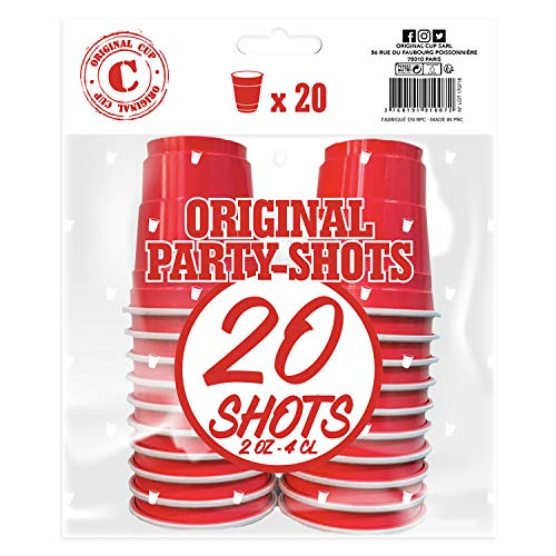 Pack de x20 Original Red Shot Cups Officiels | Shots Américains 4cl Rouges | Beer Pong | Shooters Qualité Premium | Gobelets en Plastique Réutilisables | Lavables Lave-Vaisselle | OriginalCup®