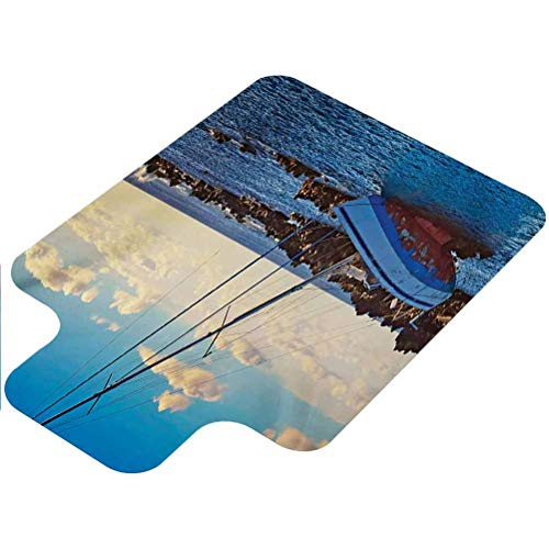 Shipwreck Computer Chair mat, Yacht in The Sea Surrounded by Ledge Rocks Coastal Incident Shroud Crash Scene, 36' X 48' Low Pile Carpet Office Mat Chair Mat, Blue Brown
