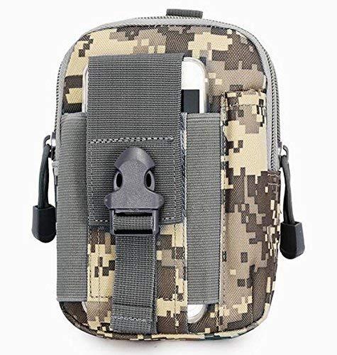 Lisirs Molle Pouch Compact EDC Utility Tactical Pouches Multiusos Gadget Cinturón Bolsa Cintura Bolsa de Herramientas con D Mosquetón Camuflaje ACU