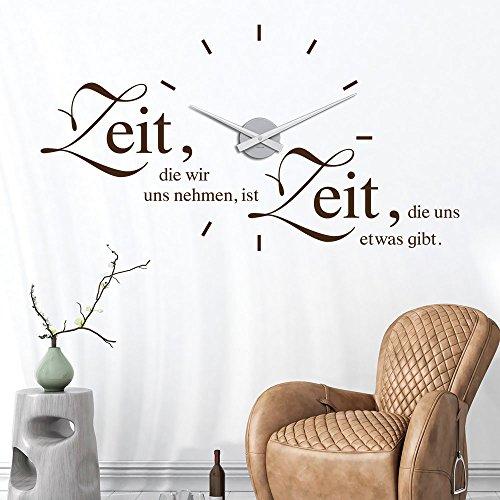 KLEBEHELD® Wandtattoo Uhr Zeit, die wir uns nehmen, ist Zeit, die uns etwas gibt. | Wanduhr mit Spruch | Größe 87x47cm (B x H) | Uhrwerk schwarz | Umlauf 48cm, Farbe schwarz