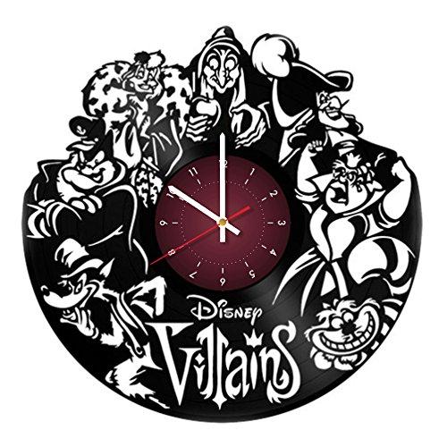 VILLAINS OF WALL DISNEY MOVIES The Walt Disney villains Vinyl Record Reloj de pared – Decoración de pared para habitación de niños – Ideas de regalo para niños, bebé, hermano y hermana, él y ella