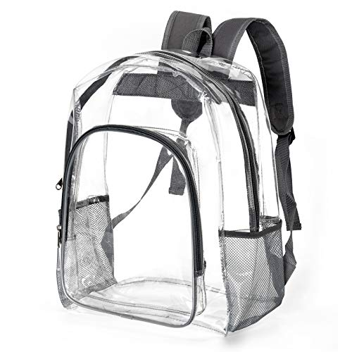 Heavy Duty Clear Backpack Transparent See Through Plastic Bookbag for School,Stadium,Security,Work,Travel,College,Concert (L 16