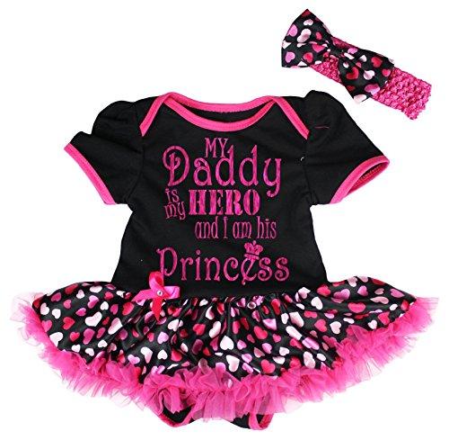 Petitebella Daddy is My Hero Black Bodysuit Hot Pink Hearts Tutu Baby Dress Nb-18m (12-18 Months)