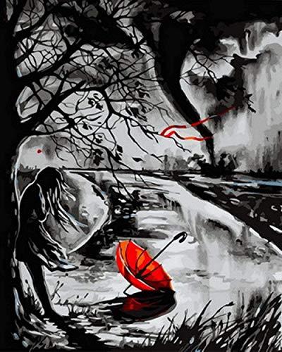 HCDZF Malen nach Zahlen f¨¹r Erwachsene und Kinder DIY ?lgem?lde nach Zahlen Geschenk Acrylmalerei nach Zahlen Kit Art Home Decoration Roter Regenschirm 40x50cm