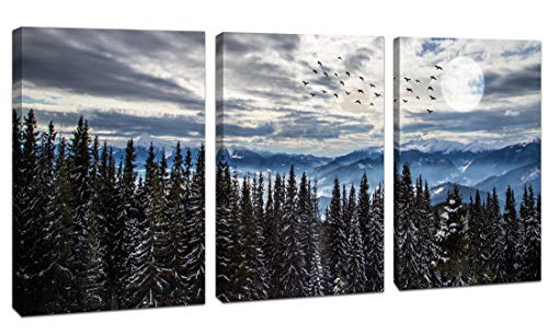 """Canvas Wall Art for Living Room Mountain Natural Forest Landscape Coniferous Trees Home Decoration Artwork For Bedroom Bathroom Canvas Print Poster Framed Wall Decor 12""""x 16""""x3 Panels"""