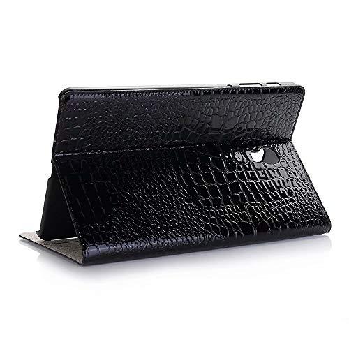GHC Pad Fundas & Covers para Samsung Galaxy Tab A 8.0 P200 P205, Flip Case Luxury Crocodile PU Lether Card RAIR Case para Samsung P200 P205 (Color : Negro)
