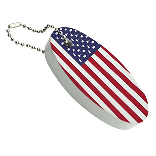 Graphics and More United States of America American USA Flag Floating Keychain Oval Foam Fishing Boat Buoy Key Float