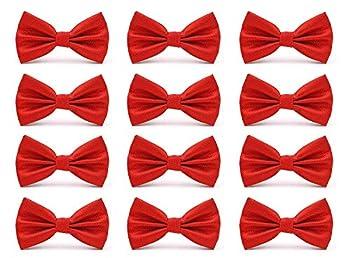 AVANTMEN Men s Bowties Formal Satin Solid - 12 Pack Bow Ties Pre-tied Adjustable Ties for Men Many Colors Option in bulk