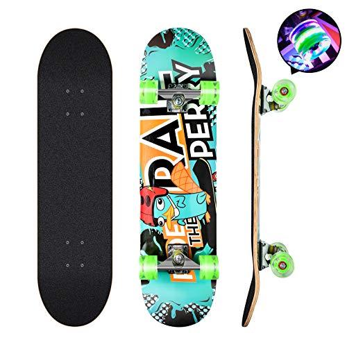 Skateboard, 78,7 x 20,3 cm komplettes Skateboard, 9 Schichten kanadisches Ahornholz Deck Skateboard mit bunten blinkenden Rädern für Kinder, Jugendliche und Erwachsene (grün)
