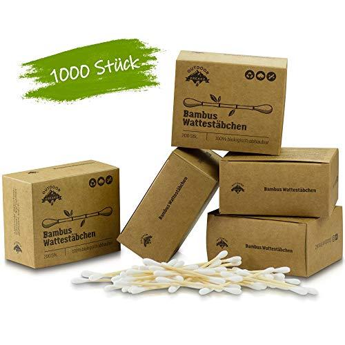 Bambus Wattestäbchen (1000) Vegan & Nachhaltig, 100% Biologisch Abbaubar, Kompostierbar - Plastikfreie Zero Waste Produkte