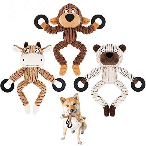 Dog Squeaky Chew Toys Durable 3 Pack Toys Set for Puppy Small Medium Large Dogs Playing Making Fun- Monkey, Bear and Bull