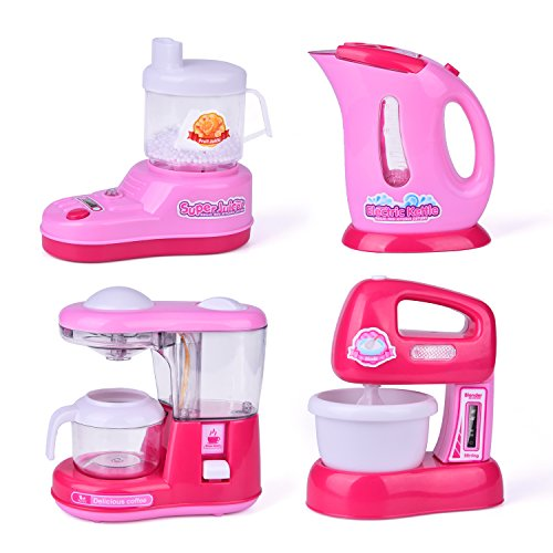 Assorted Play Kitchen Appliance Toys with Kettle Pot, Coffee Maker, Mixer, Blender Play Kitchen Accessories Set with Light and Sound 4 PCs Batteries Included