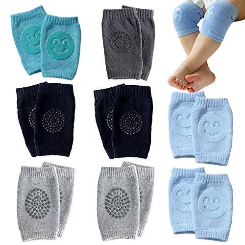 NEPAK 8 Paar Baby Knieschoner Krabbelhilfe mit Gummipunkte anti-Rutsch knieschoner kinder Jungen