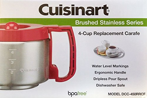 Cuisinart DCC-450RRCF 4-Cup Replacement Carafe, Red (RED)