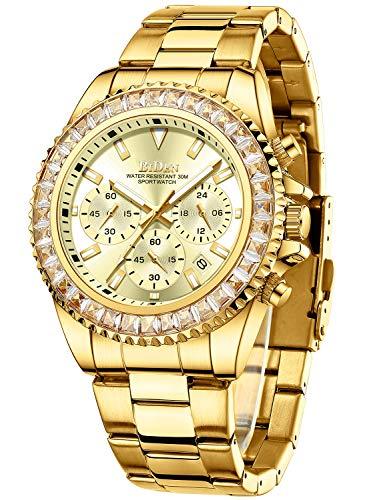 Relojes Hombre Relojes de Pulsera Cronografo Diseñador Impermeable Reloj Hombre de Acero Inoxidable Analogicos Fecha (Dorado b)