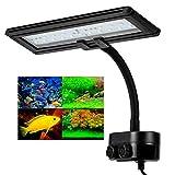 Hygger Luces para Acuarios,Luz LED Acuario Lluminación LED para Acuarios Plantados Lámpara LED para Peceras Lámpara de Acuario Blanco y Azul con Clip Ajustable (13W)